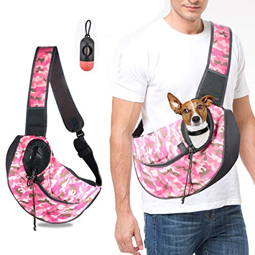 (U-pick Pet Sling Carrier Bag - Hands Free Travel Bag for Small and Medium Dog Cat,Adjustable Shoulder Strap Outdoor Tote Pet Carrying Bag with Safety Strap&Pocket, Breathable,Waterproof,Up to 15 lbs)