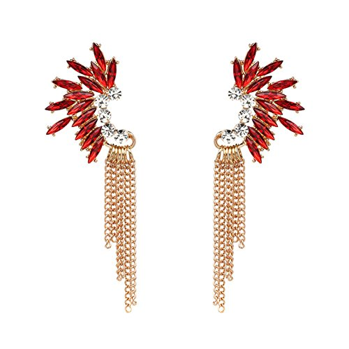 Red And Gold Tone Earrings - 4