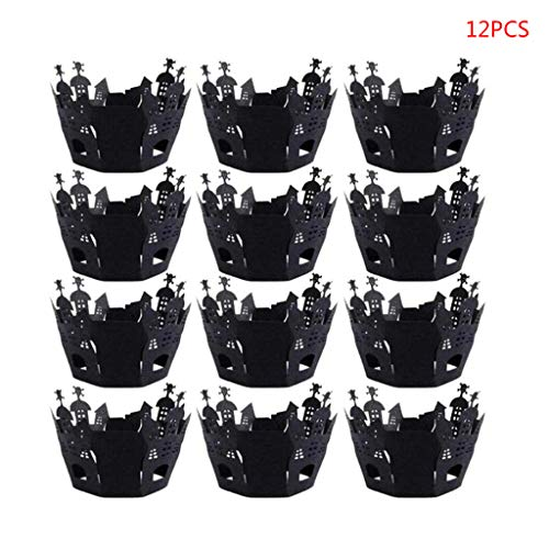 Autones Halloween Cake Wrappers,12Pcs/Set Halloween Hollow Paper Cup Cupcake Wrappers Decor Party Supplies Craft -