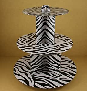"12"" Three Tiers Cupcake Stand ALL Zebra Stripped Print (BLACK & WHITE)"