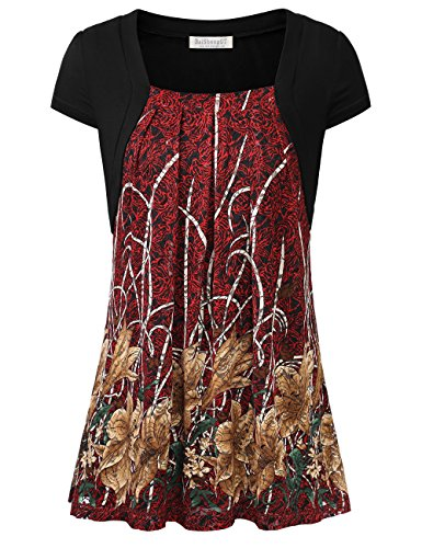 BaiShengGT Women's Faux Twinset Lace Floral Pleated Front Cap Sleeve Tunic Top Large T03 ()