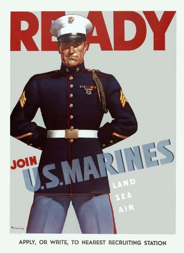 ww2 united states marine corps usmc recruitment wall poster art print devil dogs