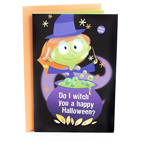 Hallmark Funny Halloween Card with Light and Sound for Kids (Witch You a Happy -