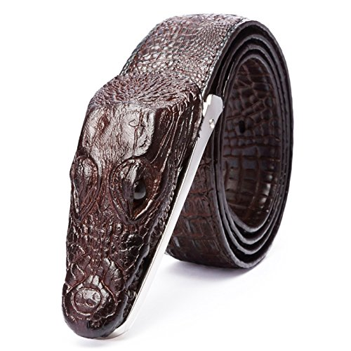 T-PERFECT LIFE Men's Trendy Personality Leather 3D Crocodile Shape Belt with Plaque Buckle (43 inch, brown)