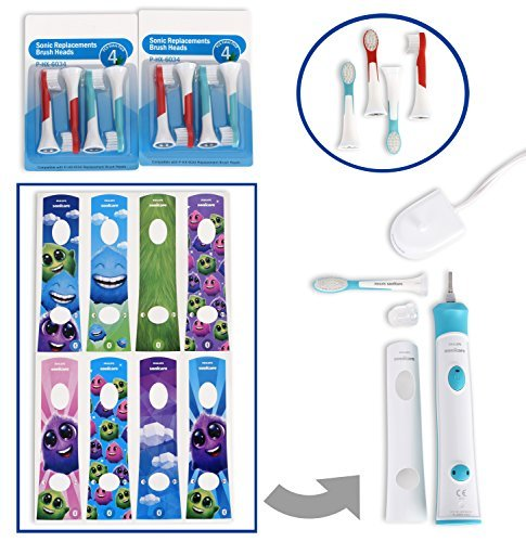Philips Sonicare for Kids Rechargeable Electric Toothbrush HX6321/02 Bundle with Sonic Kids Replacement Toothbrush Heads HX6034 Pack of 3 Compatible with All Kids Sonicare Models - 4 Items