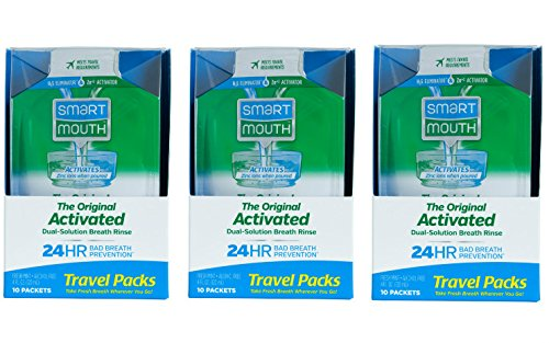 SmartMouth Mouthwash Travel Packets for 24 Hours of Fresh Breath Guaranteed, 3 Boxes, 10 packs each -