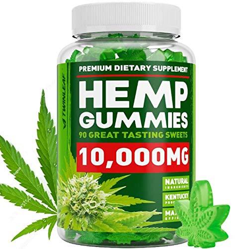 Hemp Oil Gummies 10000 MG - 111 MG per Gummy - Premium Hemp Extract - Pain, Stress & Anxiety Relief - Made in The USA - 100% Natural & Safe Hemp Gummies - Mood Enhancer & Immune Support - Omega 3