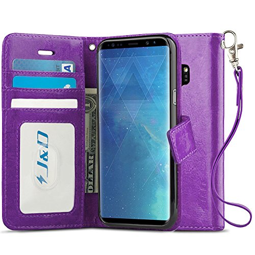 J&D Case Compatible for Galaxy S9 Case, [RFID Blocking Wallet] [Slim Fit] Heavy Duty Shock Resistant Flip Cover Wallet Case for Samsung Galaxy S9 Wallet Case - [Not for Galaxy S9 Plus] - Purple