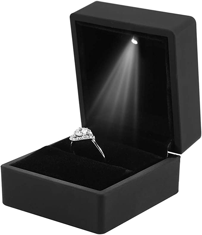 4 Tipos Caja de Exhibición de Joyería con Luz LED, Estuche de Almacenamiento de Joyería para Anillo/Colgante/Pulsera/Collar para Mejor Regalo(Caja de Anillo): Amazon.es: Amazon.es