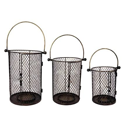 VIP Home And Garden Metal Candle Holders, Black (Set Of 3)