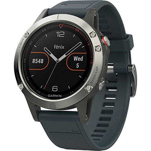 Garmin fnix 5 GPS Heart Rate Monitor Watch Silver with Granite Blue Band 010-01688-01