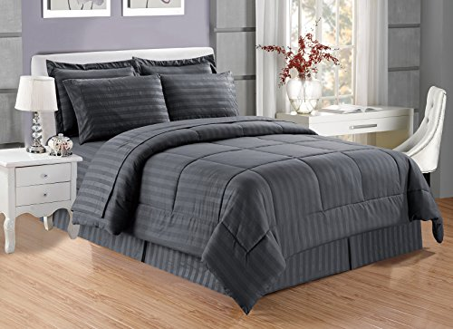 8 piece Luxury GREY Dobby Stripe Bed In A Bag Reversible Goose Down Alternative Comforter set, QUEEN SIZE with Matching Sheet Set, Hypoallergenic, Siliconized Fiberfill, Box Stitched - 8 Piece Bed Set