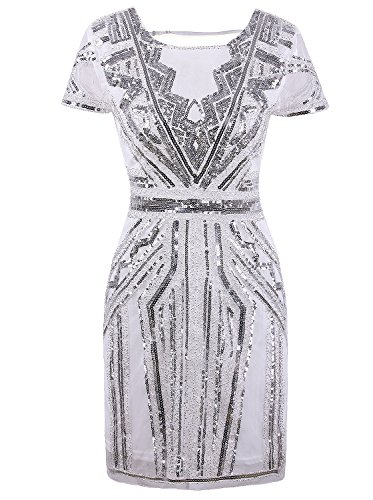 VIJIV Women's 1920s Short Prom Dresses Gown Elegant Sequin Beaded Cocktail Party Evening Flapper Silver White XL
