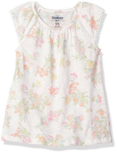 Osh Kosh Girls' Kids Fashion Tops, Ivory Floral, 7