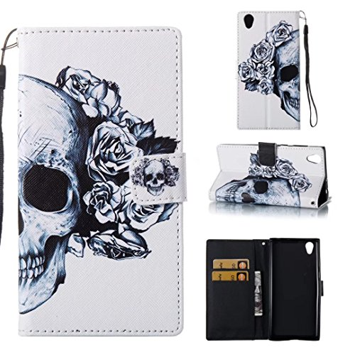 Lily Cell Phone Snap (Sony Xperia L1 Wallet Case,HAOTP Beauty Luxury PU Flip Stand Credit Card ID Holders Wallet Leather Case Cover for Sony Xperia L1 (White Flowers Floral Skull))