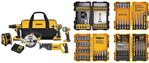 DEWALT 20V MAX Combo Kit, Compact 6-Tool DCK620D2 with DEWALT DWA2FTS100 Screwdriving and Drilling Set, 100 Piece