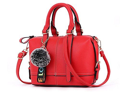 BAO Bolsos de las señoras Diagonal Shoulder Hand Trend Personalidad Bolsa Moda Zipper Bags Simple Pillow Pack, brown red