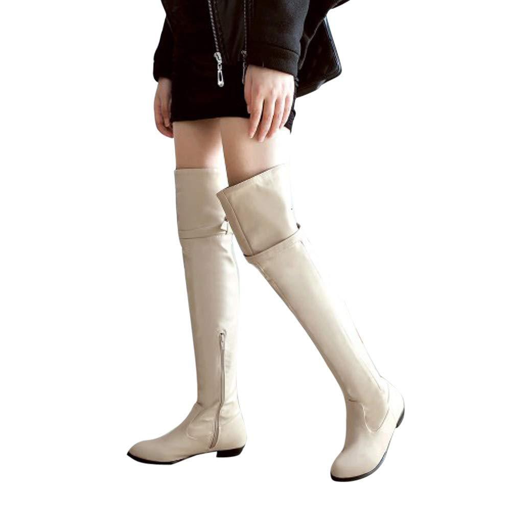 JiaMeng Mujer Botas De Nieve Calentar Invierno Planos Zapatos Moda Botas largas Botas de Caballero Botas Altas de Cabeza Redonda Botas Planas: Amazon.es: ...