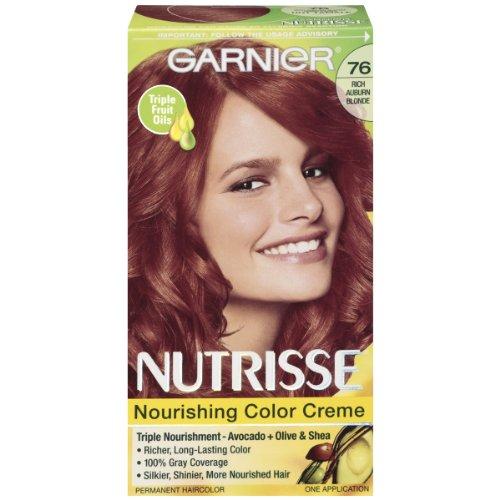 Garnier Nutrisse Nourishing Hair Color Creme, 76 Rich Auburn Blonde (Hot Tamale) (Packaging May - Hair Auburn Color Garnier