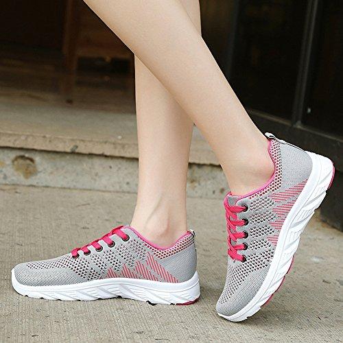 Women's Shoes Comfort Running Lace Sneakers Fashion ZHENZHONG Gray up 0Uwq07