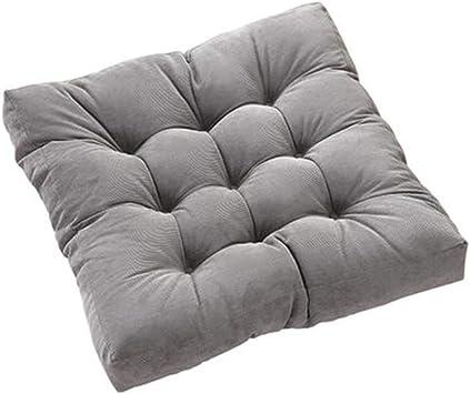 JIN Square Corduroy Floor Pillow Chair Cushion Tatami Style Futon Pad Window Pad Yoga Mat 22x22-inches,Grey