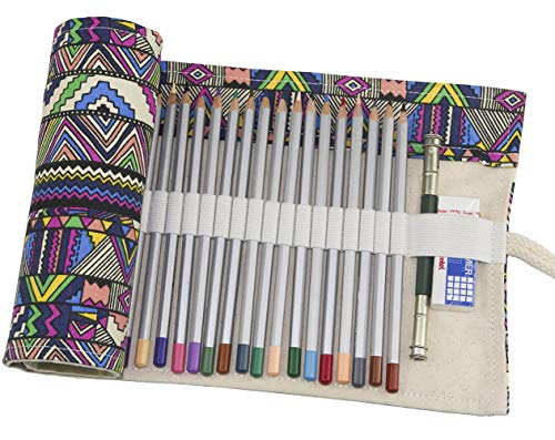 Hz.Codelo Canvas Pencil Wrap Roll up Case Hold for 72 Colored Pencils, Travel Carrying Organizer Holder,Great for Kids Adult Coloring Book - Bohemian(NO PENCILS included)