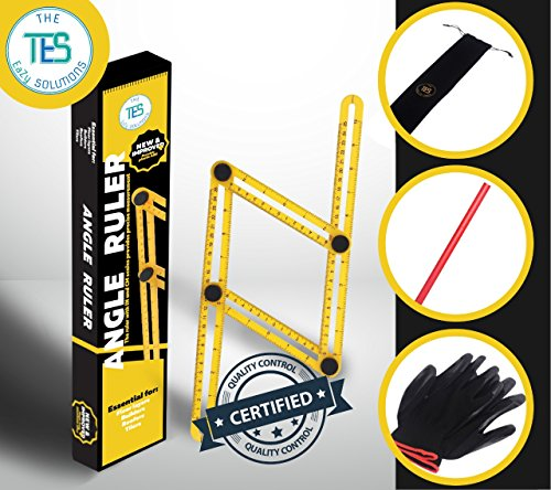 Angle Ruler & Multi Angle Measuring Ruler (including Pouch, Gloves & Carpenter Pencil) Template Tool Great for Your