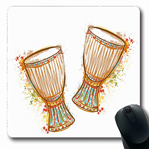 Ahawoso Mousepads for Computers Percussion African Drums Tam Splashes Watercolor Ethnic Vintage Music Bongo Africa Festival Party Oblong Shape 7.9 x 9.5 Inches Non-Slip Oblong Gaming Mouse Pad ()