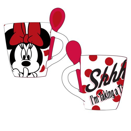 Disney Minnie Mouse Time Out Mug with Spoon, White]()