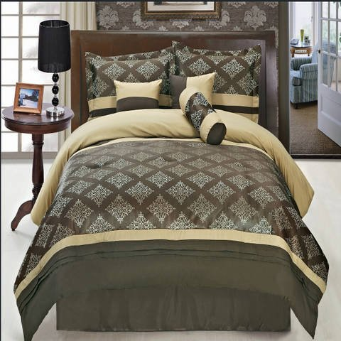 Thomasville Fitted Sheet (Luxurious QUEEN Size 11 Piece Thomasville Coffee Comforter Set with Comforter, Bed Skirt, Pillow Shams, Cushion, Breakfast Pillow, Neck Roll & BONUS 100% Microfiber Bed Sheet Set, Color Style Chocolate, Beige and Gold)