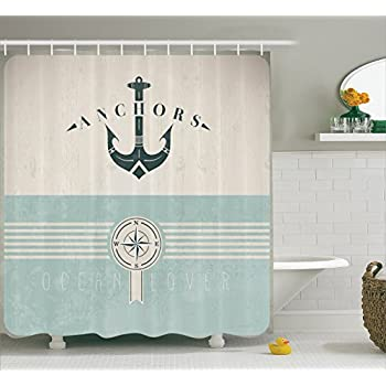 Artsy Shower Curtain Ocean Decor By Ambesonne Nautical Anchor Sailor Sea Directions Antiqued Theme Like Beauty Home Bath Decorative Marine Bathroom Fashion