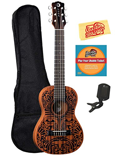 Luna Tribal 6-String Ukulele Bundle with Gig Bag, Tuner, Austin Bazaar Instructional DVD, and Polishing Cloth by Luna Guitars