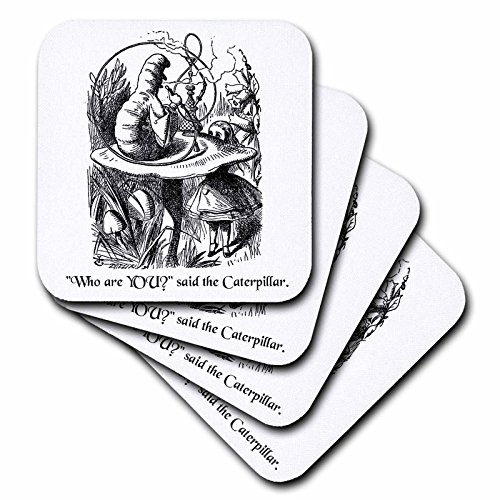 3dRose cst_193796_1 Who Are You Smoking Caterpillar Quote From Alice in Wonderland Soft Coasters, (Set of (Caterpillar In Alice In Wonderland)