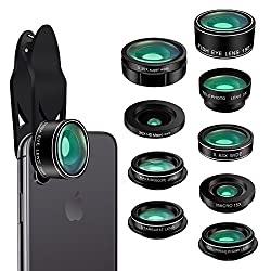 Phone Camera Lens Kit,9 In 1 Kaiess Super Wide Angle+ Macro+ Fisheye Lens +Telephoto+ Cpl+kaleidoscope+starburst Lens For Iphone X876s6 Plus, Samsung,android Smartphones