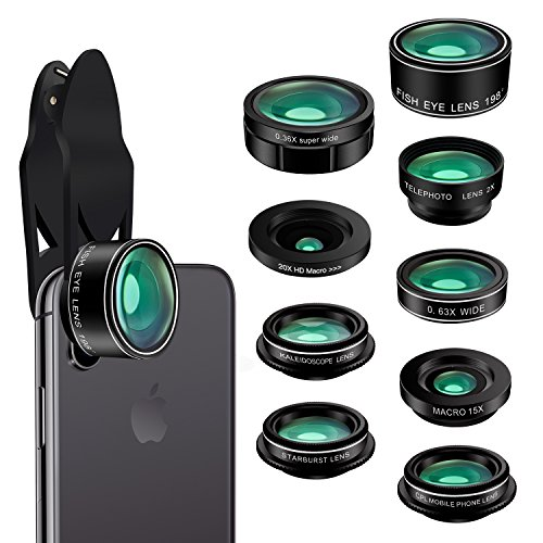 Phone Camera Lens Kit,9 in 1 Kaiess Super Wide Angle+ Macro+ Fisheye Lens +Telephoto+ CPL+Kaleidoscope+Starburst Lens for iPhone X/8/7/6s/6 Plus, Samsung,Android Smartphones (Iphone Camera Lens)