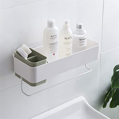 Amazon Com She S Home Bathroom Wall Organizer Shower Caddy Wall Mounted Adhesive With Towel Rack Toothbrush Shampoo Holder For Shower Storage Green Home Kitchen