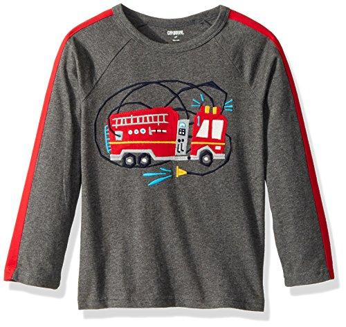 Gymboree Toddler Boys' Long Sleeve Tee Firetruck, Grey, (Truck Applique T-shirt)