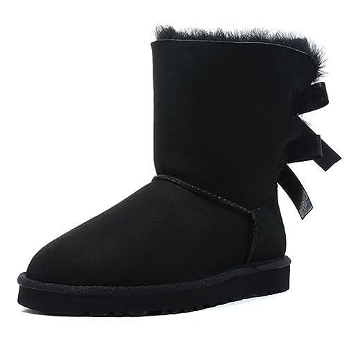 0d44b06b8e7 June in love Women's Snow Boots for Winter Back Bow Tie Closure Non Slip  Shoes