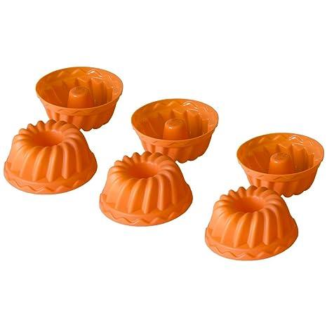 Oxid7 ® Mini moldes de silicona para pasteles   Juego de moldes  para 6