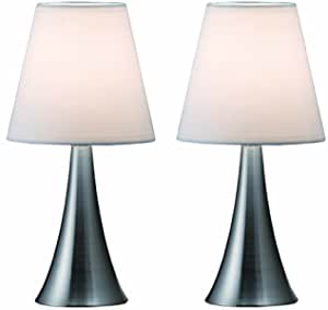 Simple Designs Home Lt2014 Wht 2pk Valencia Brushed Nickel Mini Touch Table Lamps With Fabric Shades White Pack Of 2 Amazon Com