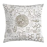 Ambesonne Science Throw Pillow Cushion Cover, Science Theme Hand Drawn Style Chemistry Laboratory School Classroom Illustration, Decorative Square Accent Pillow Case, 18 X 18 Inches, Umber White