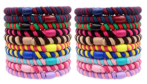 Fashion & Lifestyle 20 Pcs Large Hair Ties Pony Ponytail Holders for Thick Hair - Stretchy Elastics Hair Bands Boutique Woven Ropes for Women and Girls, Assorted Color