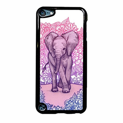 Cute Baby Elephant In Pink Purple Blue iPod Touch 6 Case (Black Plastic)