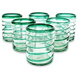 Cheap NOVICA Hand Blown Recycled Glass Green Drinking Glasses, 14 oz 'Emerald Spiral' (set of 6)