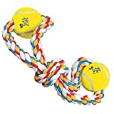 Zanies Cotton Knotted Rope with Two Tennis Balls Dog Toy, Twin Loop, 14-Inch, My Pet Supplies