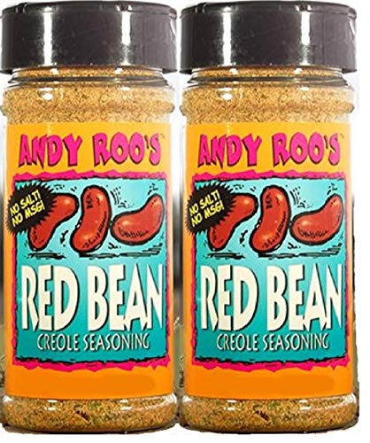 Andy Roo's Salt-Free No MSG Red Bean Creole Seasoning, 4 Ounce Shaker (Pack of 2)