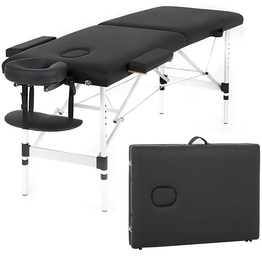 Massage Table Massage Bed Spa Bed 73 Inch Aluminium Massage Table W/Face Cradle Carry Case Height Adjustable 2 Fold Portable Facial Salon Tattoo Bed by PayLessHere