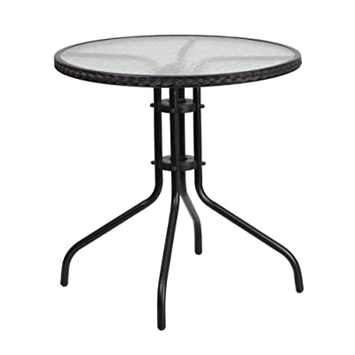 Flash Furniture 28'' Round Tempered Glass Metal Table with Black Rattan Edging: Kitchen & Dining