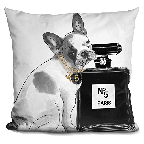 LiLiPi Leave Us Alone Frenchie Decorative Accent Throw Pillow