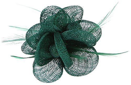 Hats 1940 Women (Gemvie Women Feather Flower Fascinator Hair Clip Kentucky Headband Green)